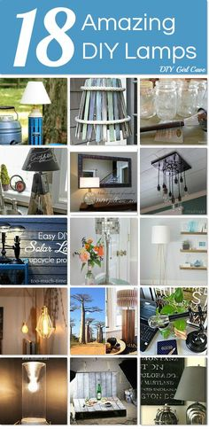 18 Amazing DIY Lamps ~ something for every taste and budget.  http://www.hometalk.com/l/cJ7