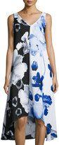 Joan Vass Sleeveless Floral High-Low Dress, Multi Pattern