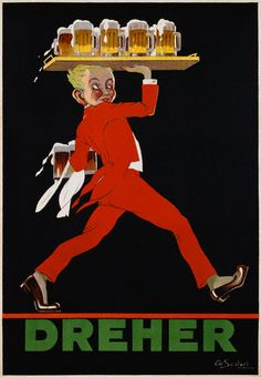 ¤ Vintage Ad : A. Scolari, Dreher, ca. 1930. A waiter carrying a full tray of beer