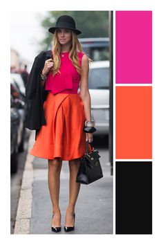 Cute outfit idea to copy ♥ For more inspiration join our group Amazing Things ♥ You might also like these related products: - Skirts ->. Colour Combinations Fashion, Color Combinations For Clothes, Color Blocking Outfits, Fashion Colours, Colorful Fashion, Classy Outfits, Stylish Outfits, Casual Chique, Parisienne Chic