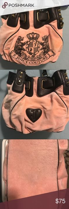 Authentic Juicy Couture satchel / light pink Used, leather double handles with normal wear and tear. One large inside pocket and two smaller inside pockets with mirror attached to the bad (mirror still has the clear plastic cover) Bag has a spot in the interior. Juicy Couture Bags Satchels