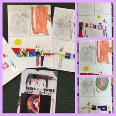 Peter und der Wolf 1. malen mit der falschen Hand 2. Lieblingsszene 3. Wolf Collage