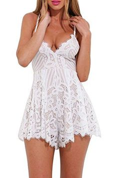 Amazon.com  Rokiney Women s Sexy Embroidery Lace Halter See Through Skort  Romper Jumpsuit  Clothing 4376d5650