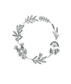 Pin by al or nothing on inkling wreath drawing, wreath tatto Kranz Tattoo, Embroidery Patterns, Hand Embroidery, Botanical Line Drawing, Illustration Blume, Flower Wreath Illustration, Wreath Drawing, 1 Tattoo, Bullet Journal Inspiration