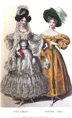 1830's - just ... between the hair and those awful dresses. So very bad. Full and Dinner Dresses, April 1830