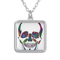 Colorful Hand Drawn Sugar Skull Mosaic Necklaces #sugarskull #inkart #skull #anatomicalskull #mosaicart #whatjacquisaid #gifts #tattooart