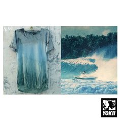 """Instagram media by yokii_studio - INspired by NIAS.""""Pulau Nias""""Off the west coast of Sumatra,Indo.I grew up with a poster of this wave on my bedroom wall..It was in 80's much like this classic Dick Hoole photo of Joe Engle around 81.These fresh colours are forever tattooed in my brain..This Tshirt being the first of my HAND PAINTED watercolor/pigment dye series.NIAS :))"""