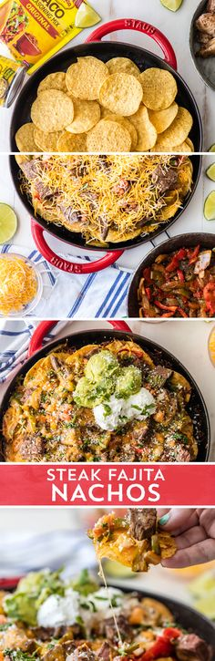 Need a game day snack that's sure to please your hungry crowd? Put these Steak Fajita Nachos from on the menu! Made with just ONE skillet, and loaded with marinated steak, veggies, and LOTS of cheese. these nachos are sure to be a new f Mexican Dishes, Mexican Food Recipes, Beef Recipes, Cooking Recipes, I Love Food, Good Food, Yummy Food, Tasty, Fajita Nachos Recipe