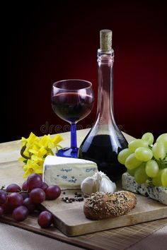 Photo about Romantic dinner with cheese, wine, grapes and jonquils on rustic board. Image of daffodil, dinner, cheese - 4583592 Photography Backgrounds, Background For Photography, Wine Ingredients, Female Lips, Wine Cheese, Romantic Dinners, Wine Decanter, Daffodils, Wines