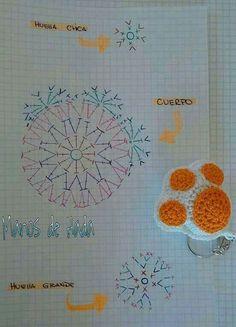 Ravelry: Kawaii Paw Cat pattern by Daniela Orlandi Crochet Diagram, Crochet Chart, Crochet Motif, Crochet Patterns, Crochet Stitches, Crochet Gifts, Diy Crochet, Crochet Toys, Crochet Keychain