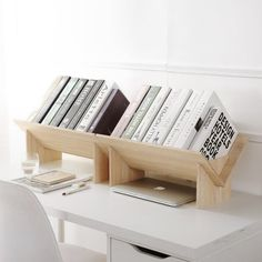 HomeSto Solid Wood Assembled Bookshelf on Desk Landing Small Bookcase Student Desktop Shelf Simple Bookshelf Table, Desktop Bookshelf, Desktop Shelf, Bookshelf Storage, Wood Bookshelves, Wooden Bookcase, Desktop Storage, Diy Desktop, Storage Rack