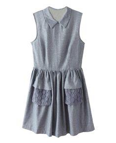 Sleeveless Empire-waist Linen Dress | BlackFive