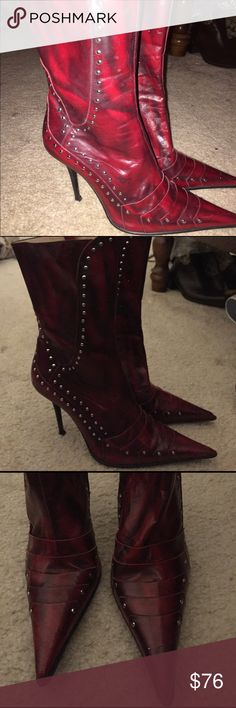 Gianmarco Lorenza made in Italy boots side 38 Good condition tip might have to be replaced soon deep red Gianmarco Lorenzi Shoes Heeled Boots