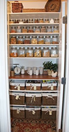 Pretty pantry organization ideas- jars and baskets