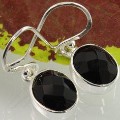925 Sterling Silver Women's Jewelry Earrings Real BLACK ONYX Checker Gemstones…