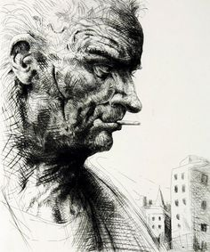 'Chalk Farm' by Peter Howson, etching, Peter Howson, Glasgow School Of Art, Chinese Art, Japanese Art, Painting & Drawing, Printmaking, Statue, Portraits, Portrait Ideas