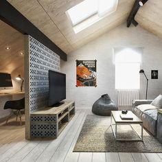 Attic living room in Moscow home / Sala buhardilla en casa de Moscú // Casa Haus: