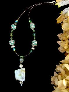 KROBO AFRICAN JEWELRY | African Krobo and Green Opal Agate Necklace - Artisan Hancrafted ...