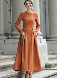 Shop for high quality Vintage O-neck Pure Color Elegant Maxi Dress online at cheap prices and discover fashion at Ezpopsy.com