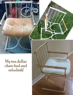 Vintage chair makeover - I found this at a Thrift Shop...with a metal frame and real bamboo arms - It just needed a little love! #bamboo #diy #chairmakeover