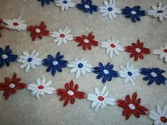 RED WHITE AND BLUE GUIPURE LACE TRIM DAISY APPLIQUE DAISIES 2m olympics jubilee | eBay Daisies, Olympics, Lace Trim, Red And White, Applique, Kids Rugs, Fabric, Blue, Ebay