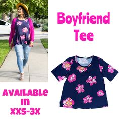 Come and shop to get this beautiful boyfriend T-shirt. This boyfriend T has a wide elbow and slight A line shape through the body with a relaxed fit. This shirt makes the perfect addition to any wardrobe.