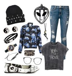 """""""Untitled #6"""" by sassysabersara ❤ liked on Polyvore featuring Frame, ONLY, Iron Fist, Accessorize, McQ by Alexander McQueen, Olivia Burton, Henson and Linda Farrow"""