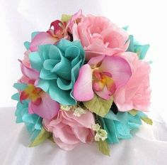 Silk Bouquet Aqua Pink Rose - All Silk Bridal Bouquets