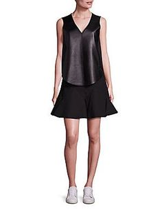 Derek Lam 10 Crosby Lamb Leather Blend Vest & Sleeveless Fit & Flare D