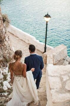 Destination Wedding Event Planning Ideas and Tips Island Wedding Dresses, Greek Wedding Dresses, Island Weddings, Wedding Outfits, Beach Theme Wedding Invitations, Beach Wedding Decorations, Beach Wedding Locations, Destination Weddings, Greek Dress