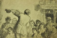 Performing Street Magician, a masterpiece from Cahan (circa 1928).  On the auction block now: http://www.martinka.com/martinka/auction/APViewItem.asp?ID=22108