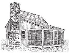 Sheldon Designs is a place to purchase plans for mini and micro cottage and cabin plans [plus larger ones, as well]. This classic micro cabin plan is so cute. Little Cottages, Cabins And Cottages, Little Houses, Tiny Houses, Small Cabins, Cottage Living, Cottage Homes, Cottage Style, Guest Cabin