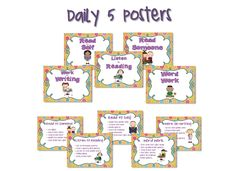Love these free Daily 5 posters. Work On Writing, Writing Words, Daily 5 Kindergarten, Daily 5 Posters, Read To Someone, Read To Self, Daily Five, Word Work, Literacy Centers