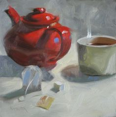 Tea, one sugar 6x6 oil - Original Fine Art for Sale - © Claudia Hammer