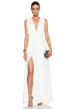 Long Deep V Pleated Dress