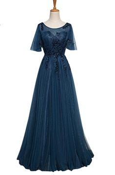 Elegant Short Sleeve Tulle Evening Dress Long Lace-up #prom #promdress #dress #eveningdress #evening #fashion #love #shopping #art #dress #women #mermaid #SEXY #SexyGirl #PromDresses