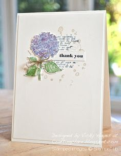 Stampin' Up ideas and supplies from Vicky at Crafting Clare's Paper Moments: Best of Flowers watercoloured hydrangea