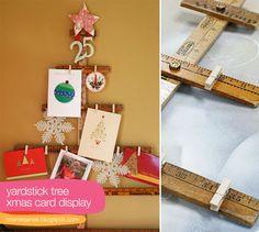 yardstick-xmas-tree-card-display-tutorial.  Cute xmas gift idea for teachers.