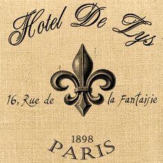 Hotel De Lys advertising vintage large paris france fleur de lys royal ephemera fabric gift tag burlap label napkins pillow Sheet n.175. $1.00, via Etsy.
