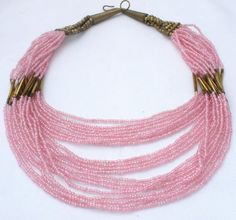 """Stunning Multi 20 Strand Pink Brown Glass Bead Graduated 19"""" Vintage Necklace   eBay"""