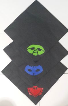 PJ Masks Black Vinyl Embellished Paper Party Napkins Owlette Gecko Catboy Birthday Party Party items Qty 12 P J Mask Disposable Partyware (6.00 USD) by BayBaysBoutique