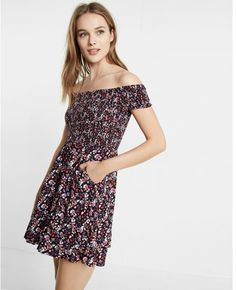 Floral Smocked Off-The-Shoulder Fit And Flare Dress Floral Print Women's Medium Express Women, Express Dresses, What I Wore, Flare Dress, Fit And Flare, Outfit Of The Day, Off The Shoulder, Strapless Dress, Fitness
