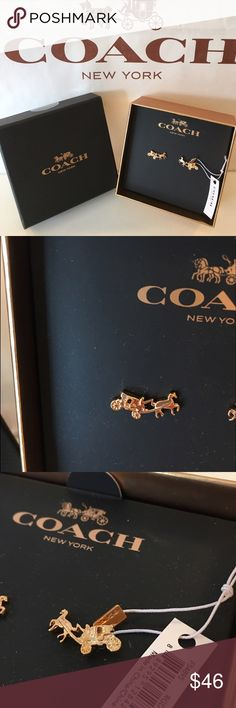 COACH NEW STAGECOACH EARRINGS AUTHENTIC COACH NEW NEVER USED WITH TAGS GOLD STAGECOACH EARRINGS. SO STUNNING AND STYLISH PERFECT FOR ANY OCCASION. SO LOVELY . THEY COME WITH THE LOVELY COACH HIFT BOX. Coach Jewelry Earrings