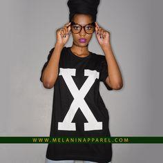 "melaninapparelshop: "" Retro Malcom ""X"" t-shirt and hoodie available now. Shop now! www.melaninapparel.com """