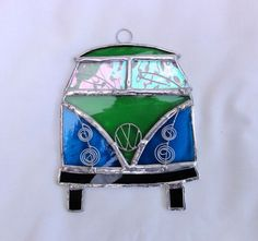 Stained Glass Camper Van Suncatcher - Turquoise and Green £14.00