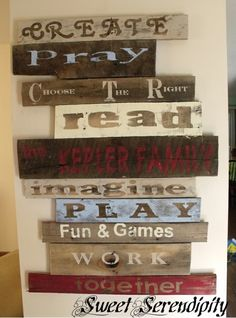 30 Fantastic DIY Pallets Wall Art Ideas.  I know we need some pallets - great ideas here!!!