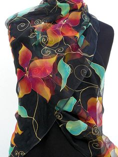 Black sheer silk scarf painted with red purple and gold flowers , long chiffon silk wrap Handpainted , floral pure silk shawl of light transparent silk . I painted it on Muslin silk ( lightweight transparent mat silk similar to chiffon ) . It definately is the lightest and most ethereal and