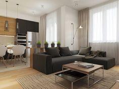 Fa felületek lágyítják a sötét és világos elemek kontrasztját a modern stílusban berendezett 50m2-es lakásban - Lakberendezés trendMagazin Cozy Family Rooms, Family Room Decorating, Interior Decorating, Decorating Ideas, Decor Ideas, Grey Sofa Design, Modern Bedroom Design, Modern Design, Modern Decor