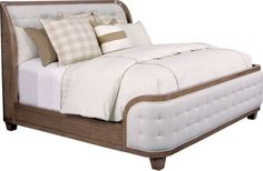 Anthony Baratta Luna Upholstered Bed   Thomasville's Luna Upholstered Bed adds a dramatic look to a traditional bedroom. Its hand-applied biscuit tufting on the headboard and footboard, its Art Deco shape -- all combine for a great look, as well as a great night's sleep. The bed is available in Queen, King, and California King sizes to suit any room from cozy cottage to magnificent resort-style suite.
