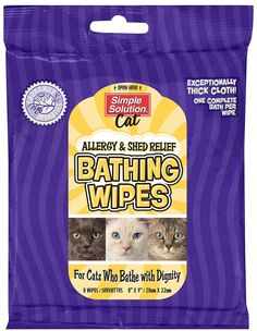 simple solutions cat bathing wipes - allergy & shed relief